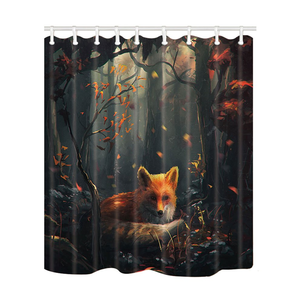NYMB Painting Animal Lover Fox in the Forest Shower Curtain 69X70 inches Mildew Resistant Polyester Fabric Bathroom Fantastic Decorations Bath Curtains Hooks Included (Multi25)