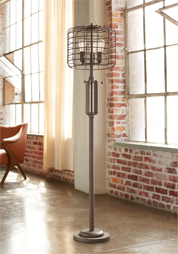 Industrial cage 65 high metal floor lamp with edison bulbs industrial lighting amazon com