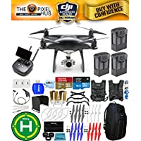 DJI Phantom 4 Pro+ Black Obsidian Edition Drone Pro Bundle With Blue Pro II Backpack, Vest Strap, Extra Props, Filter Kit Plus Much More (3 Batteries)
