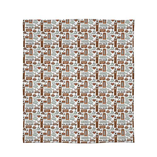 C COABALLA Flannel Blanket,London,for Living Room Bedroom Hotel,Size Throw/Twin/Queen/King,Traditional City Symbols and Landmarks Retro Collection