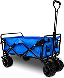 Heavy Duty Collapsible Wagon Outdoor, Collapsible Folding Carts for Garden with Adjustable Push and Pull Handle Portable Wagon Cart with Veer Wheel for Yard, Beach, Camping and Shopping