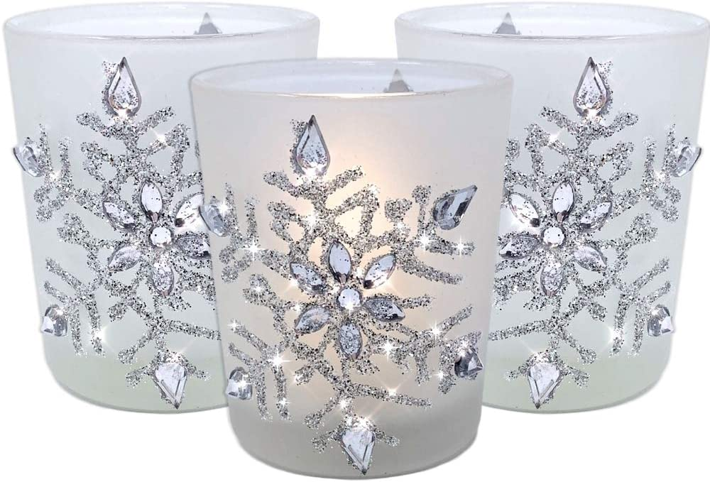 "BANBERRY DESIGNS Snowflake Candleholders with Flameless Flickering LED Candles Set of 3 Frosted Glass Glittery Snowflakes with Jewels - 2.75"" H"