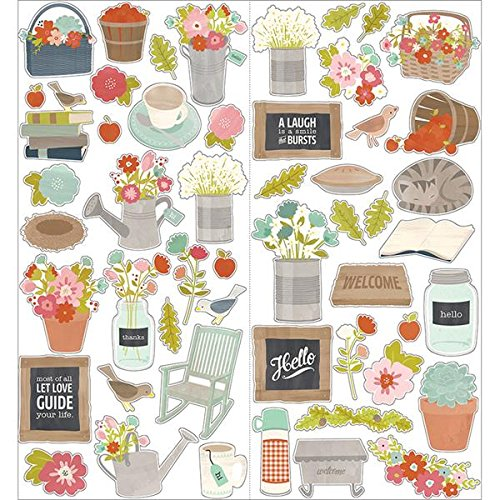(American Crafts 732327 Front Porch 2-Sheet Cardstock Stickers, 6 by 12-Inch, Icon and)