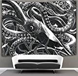 US TANG Giant Squid Wall Tapestry Hippie Art Tapestry Wall Hanging Home Decor Extra Large tablecloths 50x60 inches for Bedroom Living Room Dorm Room