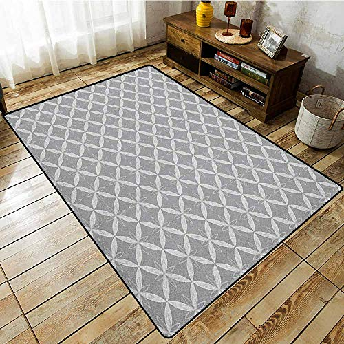Collection Area Rug,Geometric,Monochrome Floral Design Symmetrical Elements Traditional Japanese Lotus Pattern,All Season Universal Grey Beige
