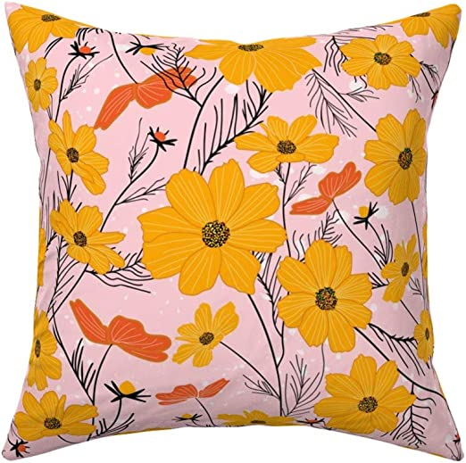 Amazon Com Roostery Throw Pillow Cosmea Floral Cosmos Flower Pink And Orange Feminine Blooms Mustard Blush Print Linen Cotton Canvas Knife Edge Accent Pillow 18in X 18in Optional Insert Home Kitchen