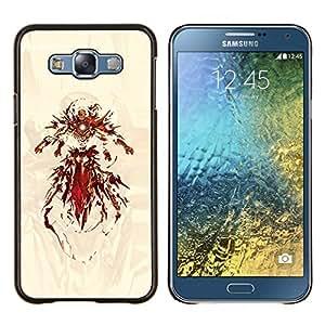 Superhero Hierro- Metal de aluminio y de plástico duro Caja del teléfono - Negro - Samsung Galaxy E7 / SM-E700