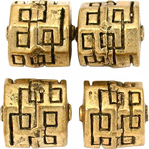19g Barrel Bali Beads Antq Gold Plated 13.5mm Approx 4 ()