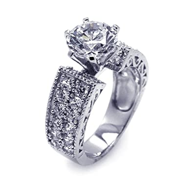 Round Ceter Clear Cubic Zirconia Designed Sides Ring Rhodium Plated Sterling Silver