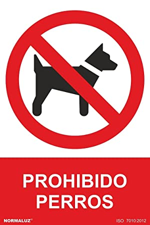 Señal PVC Prohibido perros, 21x30 cm