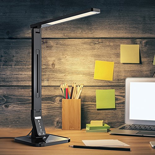 RMJ-Dimmable-LED-Desk-Lamp-RMJ-1000A-4-Working-Mode-with-5-Levels-Dimmer-Touch-Control-1-Hour-Auto-off-Timer-5V1A-USB-Charging-Port-Black