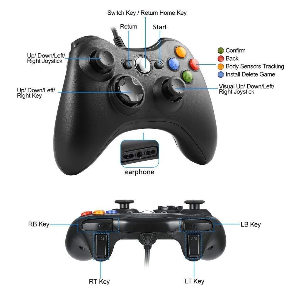 Diswoe Xbox 360 Mando de Gamepad, Controlador Mando USB de Xbox 360 con Vibración