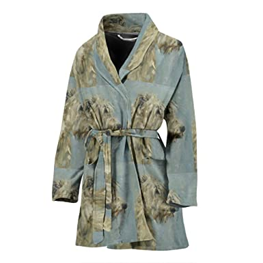 Amazon.com  Irish Wolfhound Dog Patterns Print Women s Bath Robe ... 2165b2973