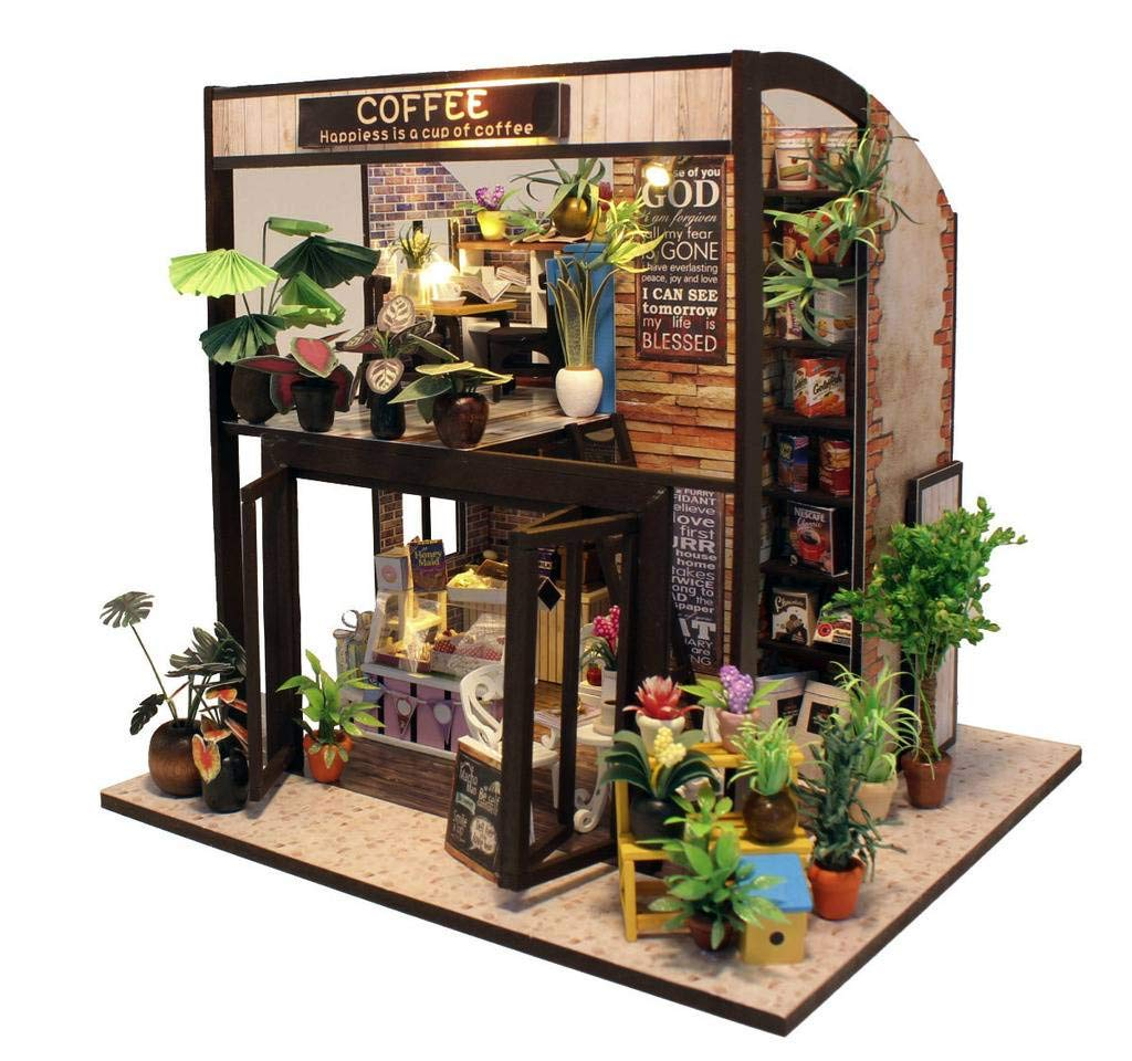Rylai 3D Puzzles Miniature DIY Dollhouse Kit Time of Coffee House Series Dolls Houses Accessories with Furniture LED Music Box Best Birthday Gift