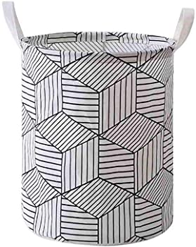 Unbruvo Printed Ramie Cotton Fabric Laundry Hamper with Handles