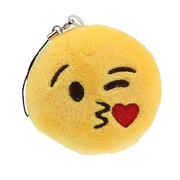 Chianrliu® Emoji Lindo Emoticono Sonriente Llavero De Juguete Suave Bolsa De Regalo Colgante Accesorio (Beso Tirar)
