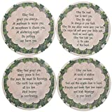 Set of Four Irish Blessing Quotes Sandstone Coasters 4.25'' Diameter Exclusive Design Green on Natural Cork Backing