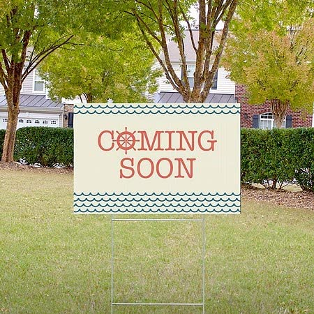 18x12 5-Pack Nautical Wave Double-Sided Weather-Resistant Yard Sign Coming Soon CGSignLab