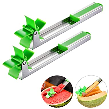 [2 Pack] Longzon Watermelon Slicer Cutter- Stainless Steel Watermelon Windmill Cutter knife Tongs, Fruit Kitchen Gadget for Melon Cutter And Cantaloupe Scooper, Windmill Shape Tool for Fruit Salad