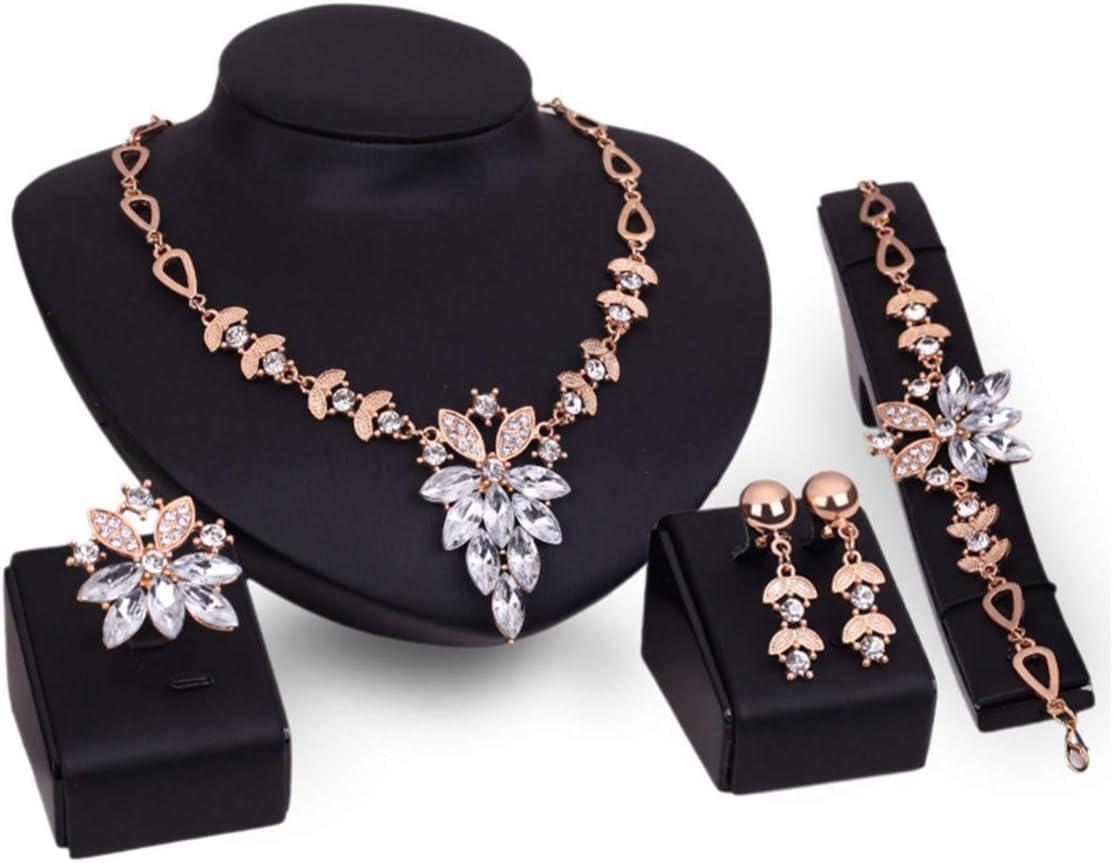 PIXNOR Mujeres Collar Pulsera Anillo Diamante Joyas Conjunto 4pcs (Blanco)