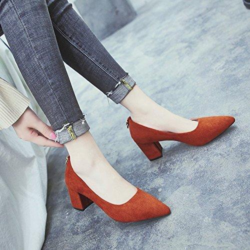 Xue Qiqi Grob und oberflächlich Mund Einzelne Schuhe Frauen Schuhe Spitze Schuhe mit Metall Snaps Weibliche Pro Schuhe