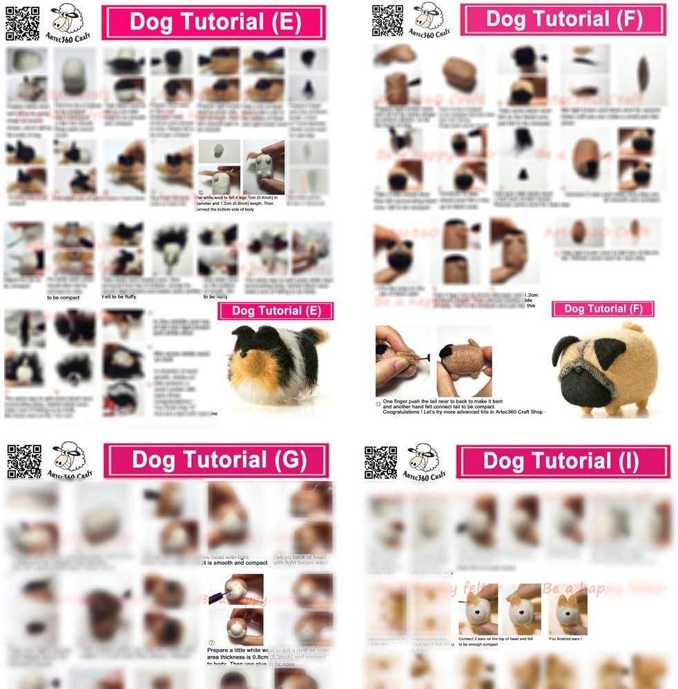 protectores de dedos manual para fieltro Kits Beginner 4x8cm F alfombrilla de espuma agujas YSZ: Kit de fieltro de agujas para perros de 4 x 8 cm