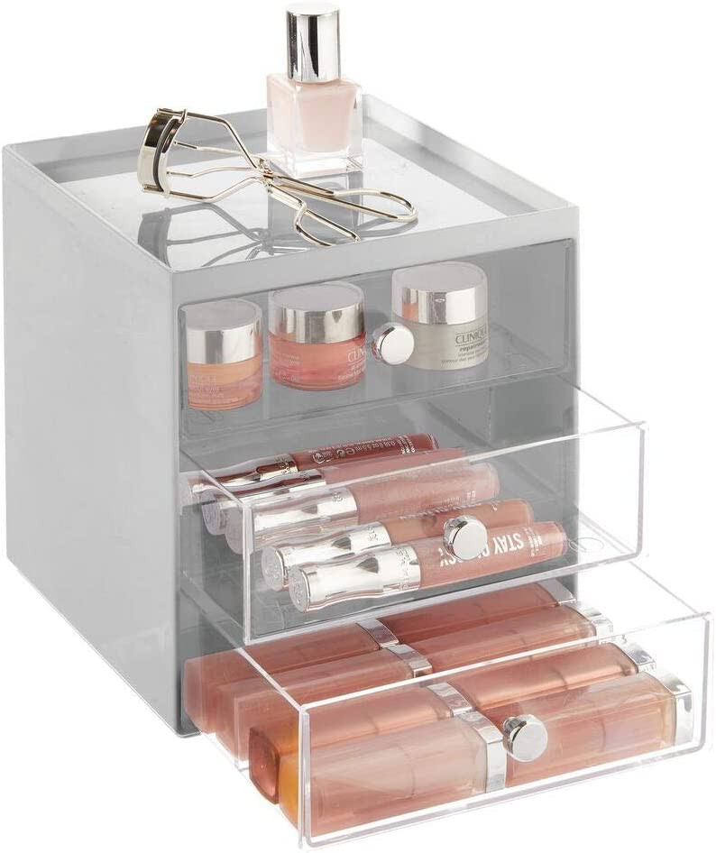 mDesign Plastic Makeup Organizer Storage Station Cube with 3 Drawers for Bathroom Vanity, Cabinet, Countertops - Holds Lip Gloss, Eyeshadow Palettes, Brushes, Blush, Mascara - Gray/Clear