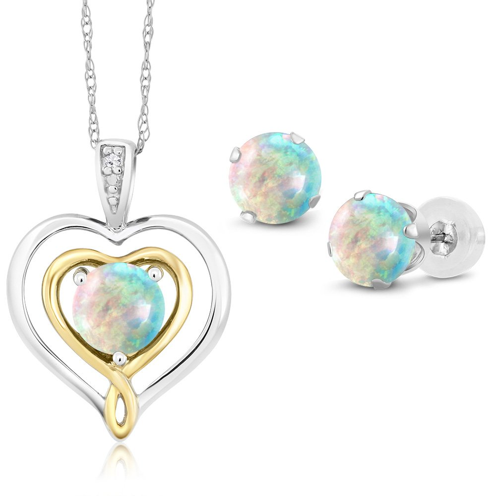 10K Two Tone Gold 2.01 Ct Cabochon Simulated Opal Diamond Pendant Earrings Set