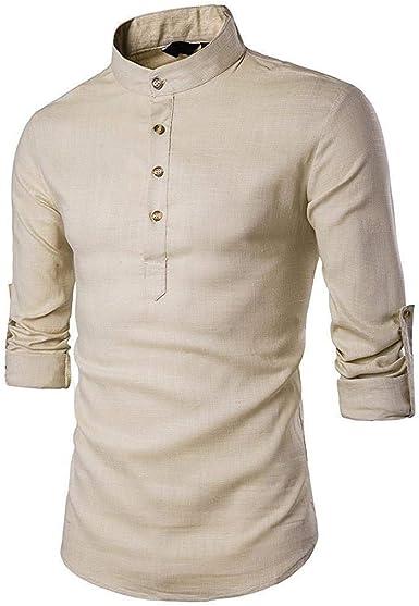 Camisa para Hombre Liso Camisa Camisas De Color De Mode De Marca Cuello Alto Blusa Slim Fit Pullover Camisas De Manga Larga Clásicos Sudadera De Manga Larga Ropa De Otoño: Amazon.es: Ropa