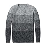 Leng Handsome and Silm New Autumn Winter Men Sweater Cotton Pullovers Long Sleeve Knitted Sweater GrayX-Large