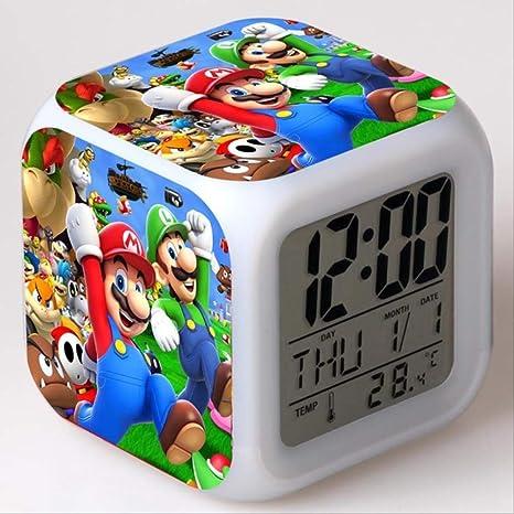 PMFS Despertador Kids Led Cambio de Color de luz Super Mario ...