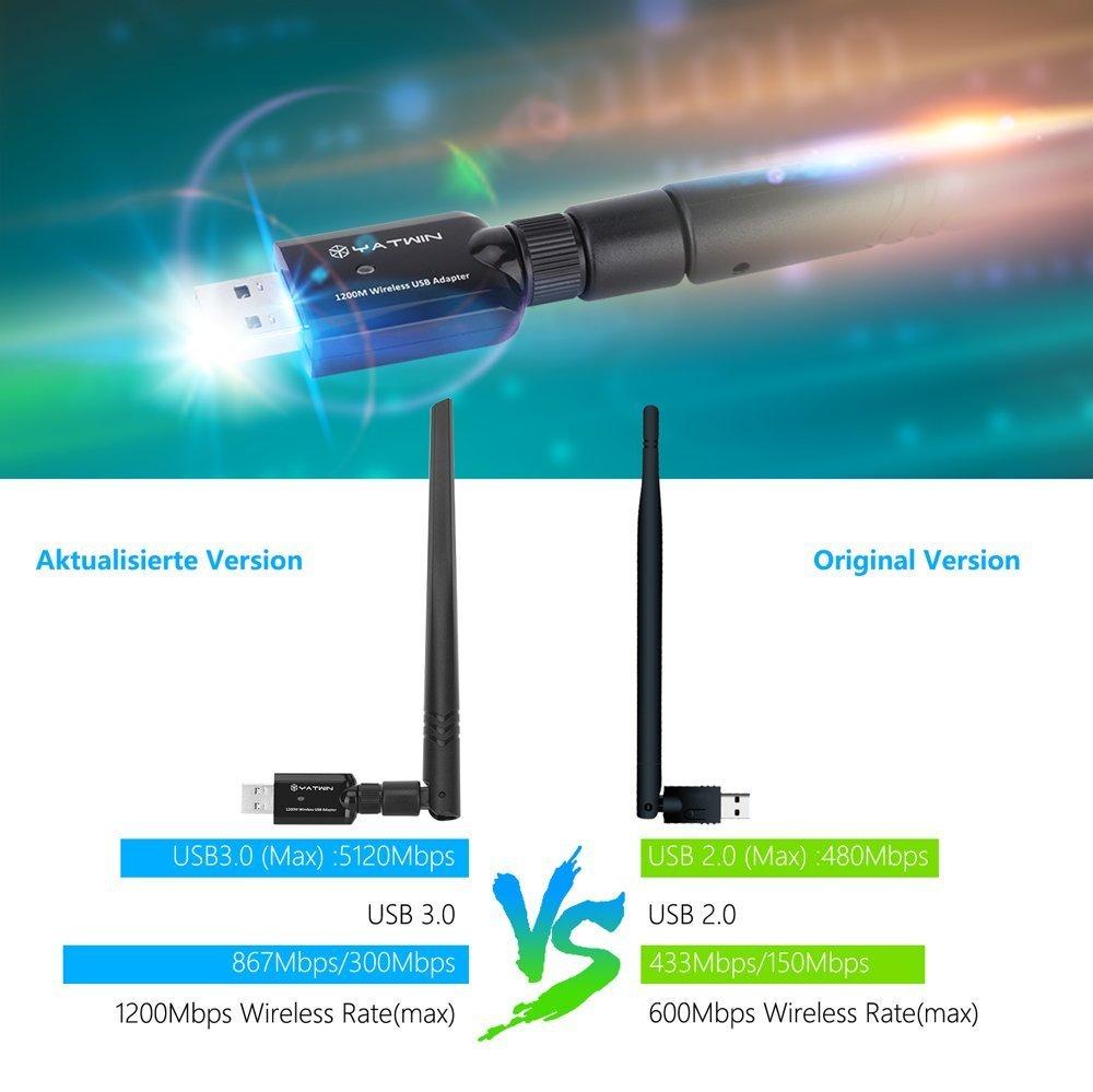 USB WLan Adapter 1200Mbps, YATWIN 802.11ac Zwei-Band 2.4G/5G ...