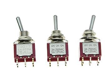 SALECOM 3pcs DPDT 6 Pin 3 Way ON/ON/ON Guitar/AMP Mini Toggle Switch  Car/Boat Mini Switches