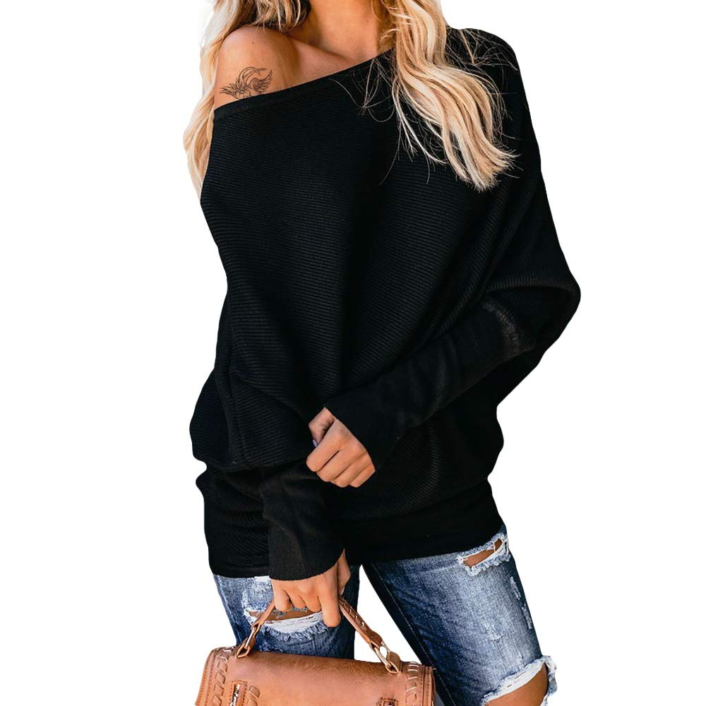 Exlura Women's Off Shoulder Batwing Sleeve Ribbed Shirt Loose Pullover Tops Black by Exlura