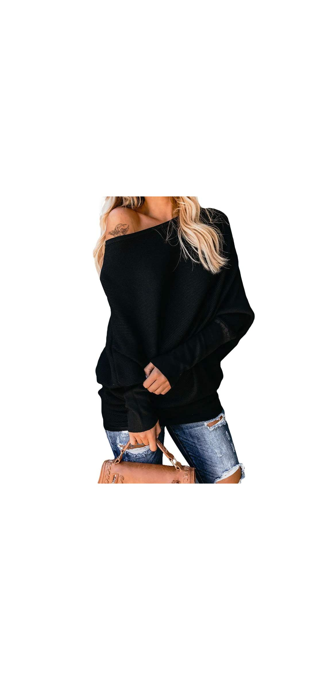 Women's Oversized Off Shoulder Batwing Sleeve Ribbed Tops