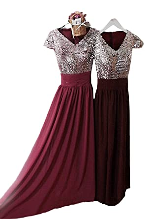 Lorder Queen Womens Sequin Cap Sleeve Bridesmaid Dress Long V Neck Burgundy Prom Gown - Red