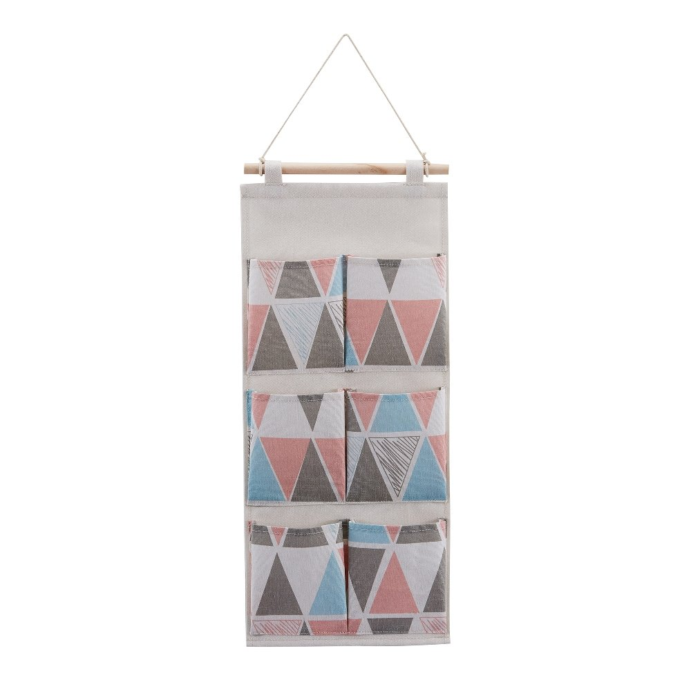 Every Deco Wall Door Hanging Mounted Storage Organization Compartment Pocket Fabric Wood Rope Room Bathroom Toiletry Newspaper Magazines - 6-Pocket - Pastel