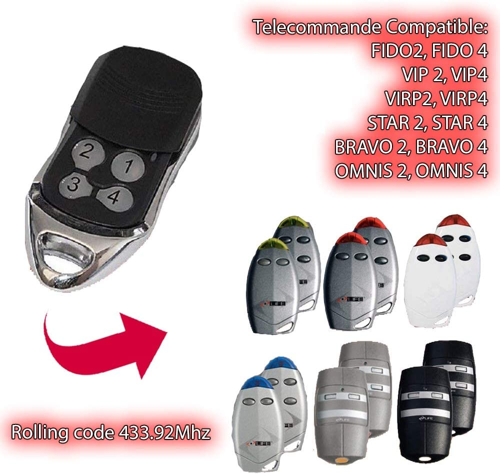 compatible con 433.92/MHz Life Fido 2/Life Fido 4/emisor de mano para