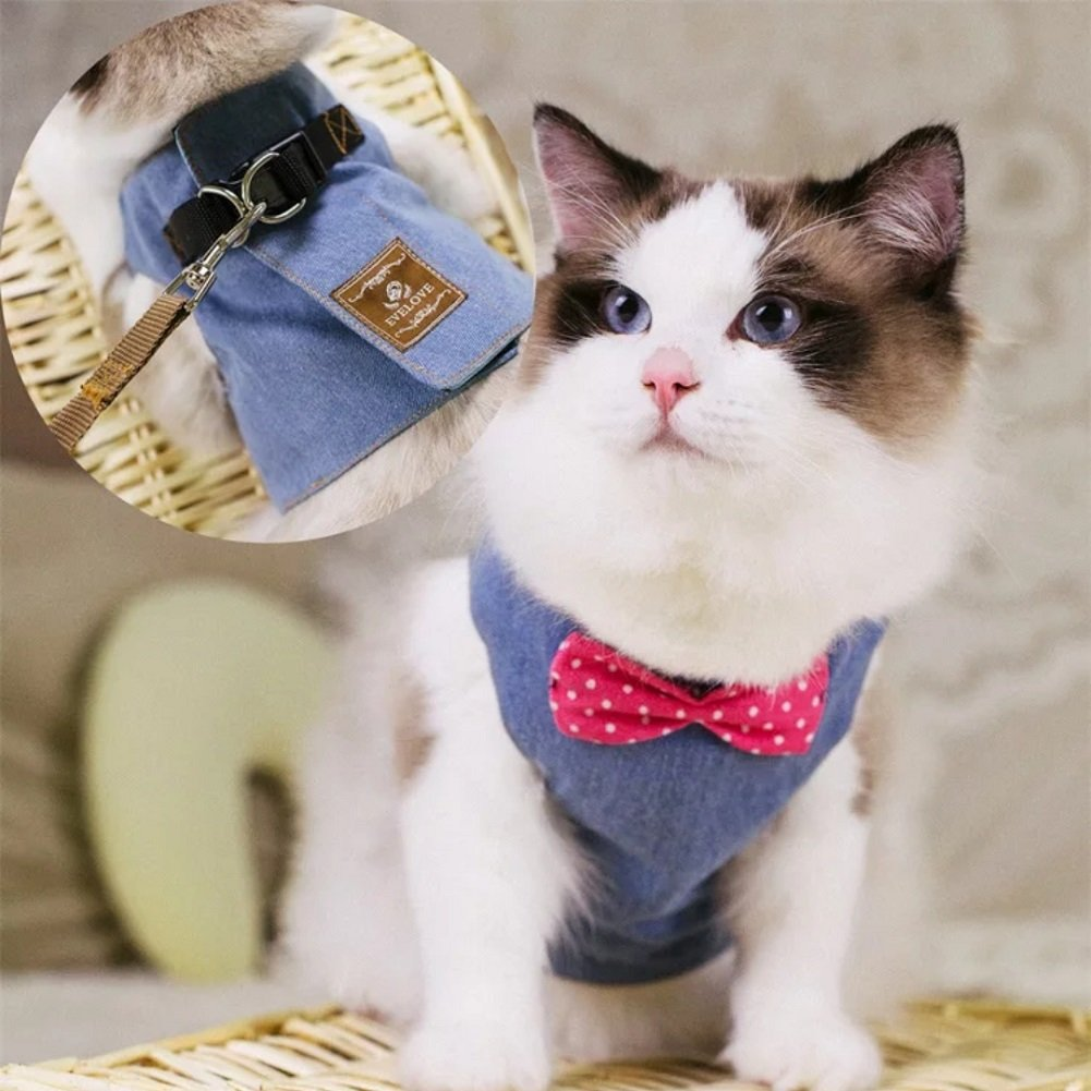 Stock Show Cat/Dog Walking Jackets Cat Harness Vest and Matching Lead Leash Set with Cute Bowtie, Detachable Leash Reteo British Style Hareness for Puppy Mediums Dogs Cats (s, Denim Blue) by Stock Show