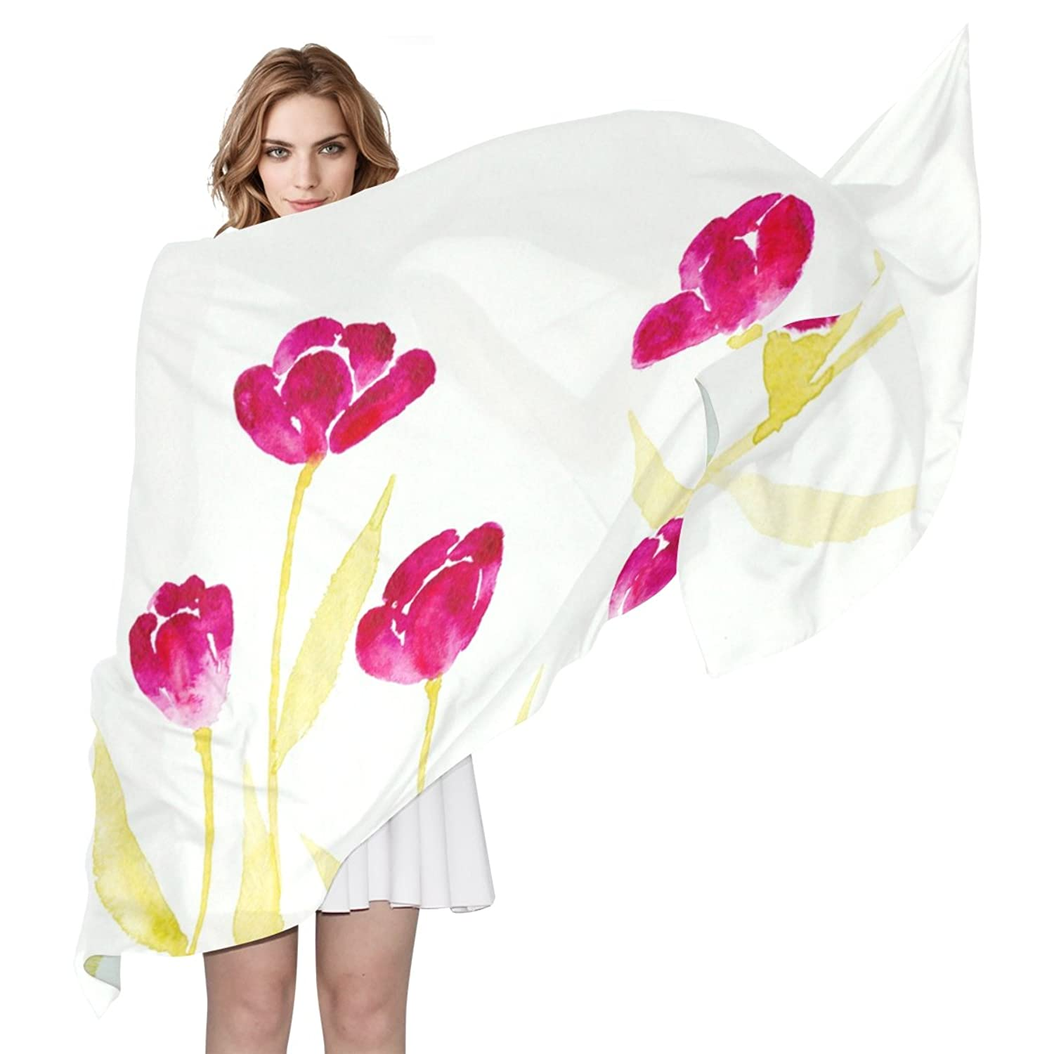 WDYSECRET Tulips Silk Printing Scarves for Women 70.86x35.4(in)
