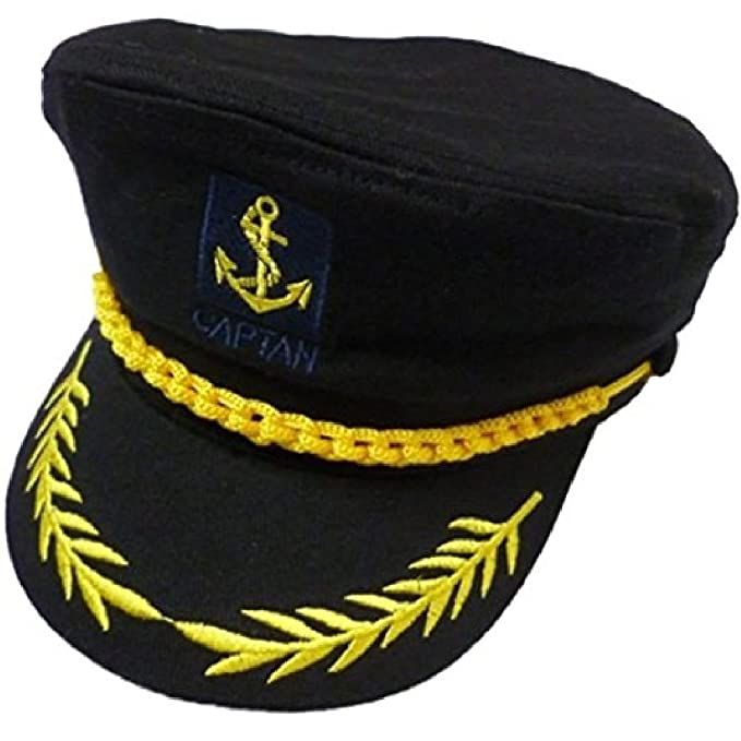 b47f96ec25971 Tdmall Unisex Skipper Cap Ship Sailor Navy Yacht Military Captain Nautical  Hat Party Costume Black