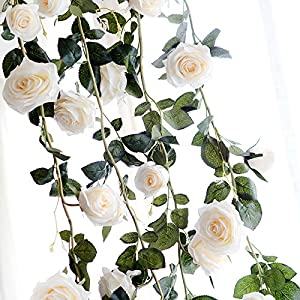 FYYDNZA 180Cm Artificial Rose Flower Ivy Wedding Decoration Real Touch Silk Flowers Chain With Leaves For Home Garland Hanging Decoration 82