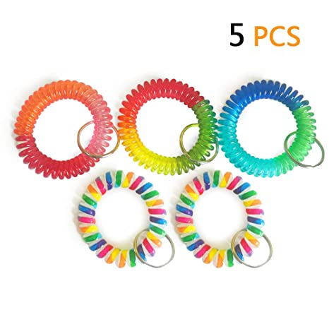Wrist Coil Wrist Keychain Colorful Stretch Key Chain for Gym, Pool, ID Badge 5pcs
