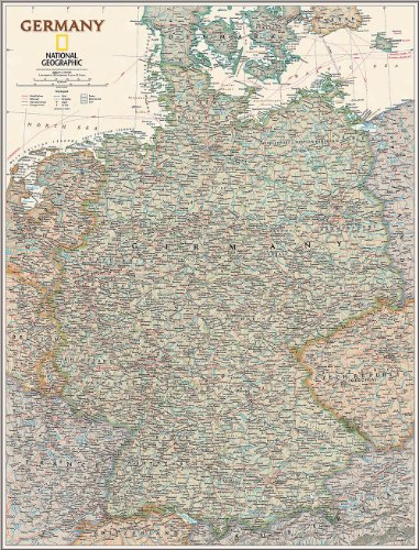 National Geographic's Executive Germany Map Wall Mural -- Self-Adhesive Wallpaper in Various Sizes by Magic Murals