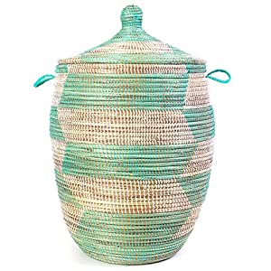 Large Lidded Woven African Basket - Aqua & White