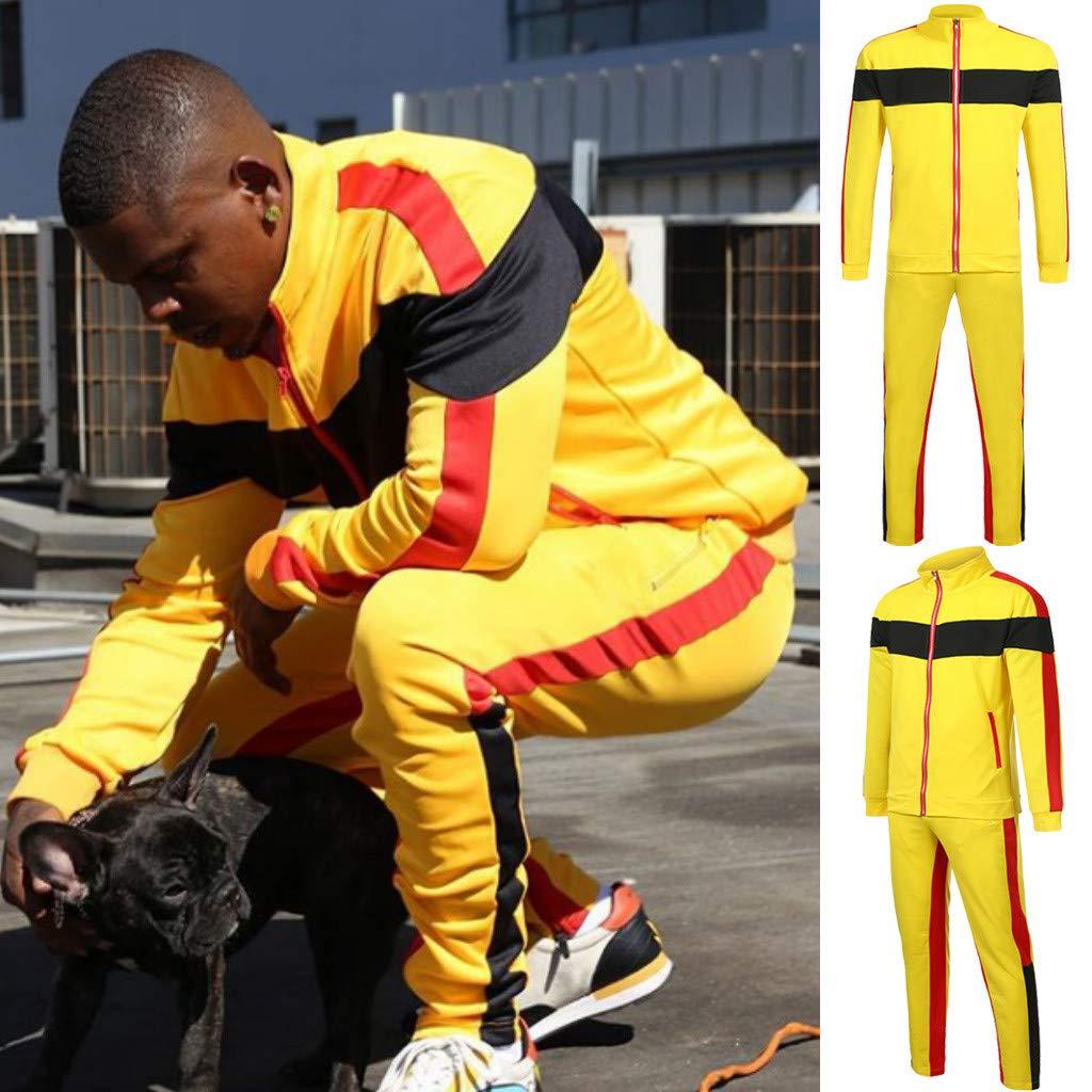 Molyveva Sport Large Size Stitching Strip Zipper Pocket Slim Fit Jogging Track Suit