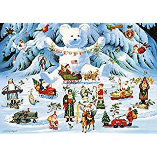 Buffalo Games - Holiday Collection - Charles Wysocki - Jingle Bell Teddy and Friends - 300 Large Piece Jigsaw Puzzle