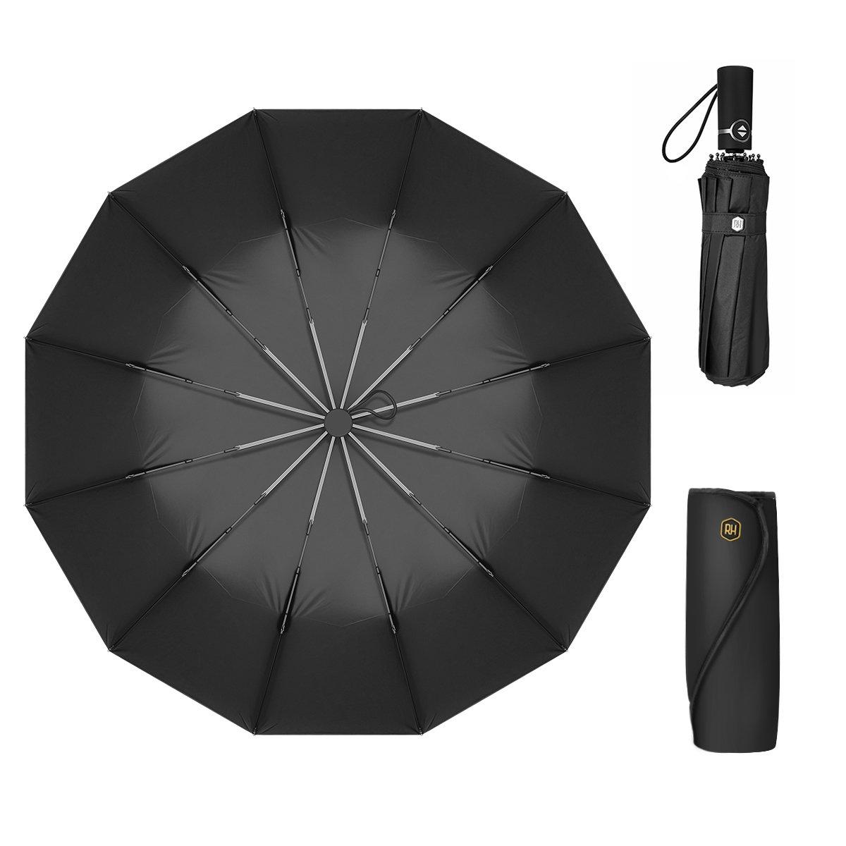 12 Ribs Travel Umbrella Windproof-Compact Umbrella with Auto Open/Close- Simplified Design Umbrella for Men&Women Ruxy Humy (Black)