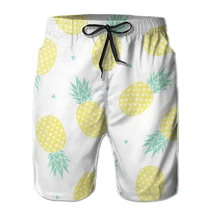 7be0ac048e8f6 Amazon.com: Mens Pineapple White Cute Board Shorts: Clothing