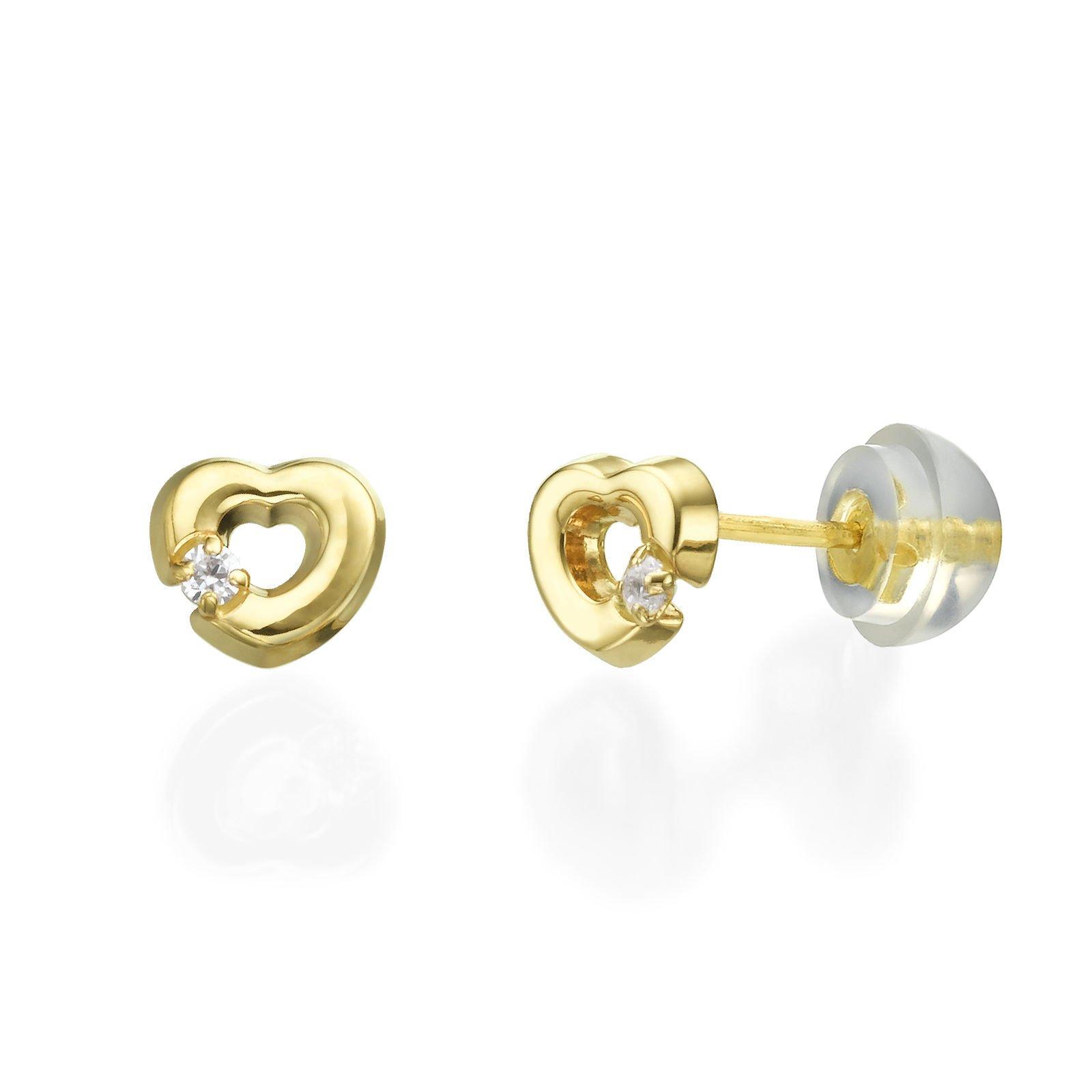 14K Fine Yellow Gold Cubic Zirconia Heart Screw Back Stud Earrings for Girls Children Kids Gift